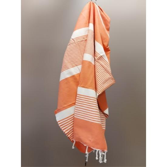 Handduk plate Orange och vitrandig