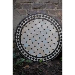 Mosaikbord beige/svart 40Ø