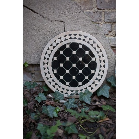 Mosaikbord svart/beige 40Ø