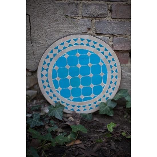 Mosaikbord beige/turkos 40Ø